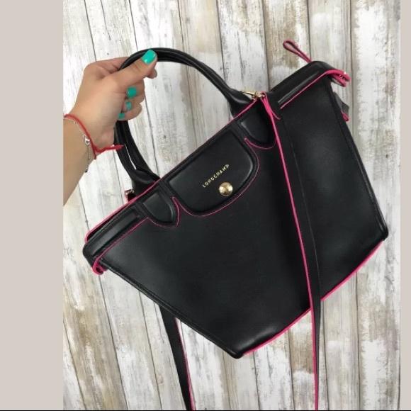 84e1e620290 Longchamp Le Pliage Bags | Heritage Black Pink Leather | Poshmark